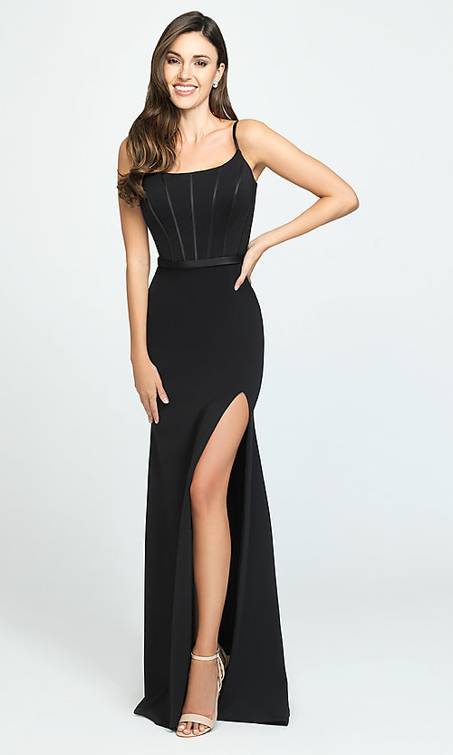 Image of Madison James elegant long prom dress with train. Style: NM-19-147 Detail Image 1
