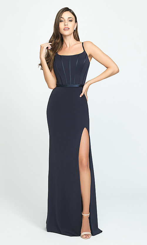 Image of Madison James elegant long prom dress with train. Style: NM-19-147 Detail Image 2