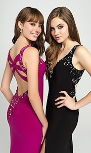 Image of long Madison James formal prom dress with beading. Style: NM-19-150 Detail Image 1