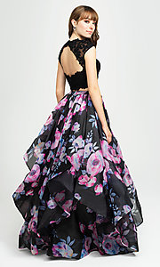 Image of two-piece navy floral-print prom dress with beads. Style: NM-19-160 Back Image