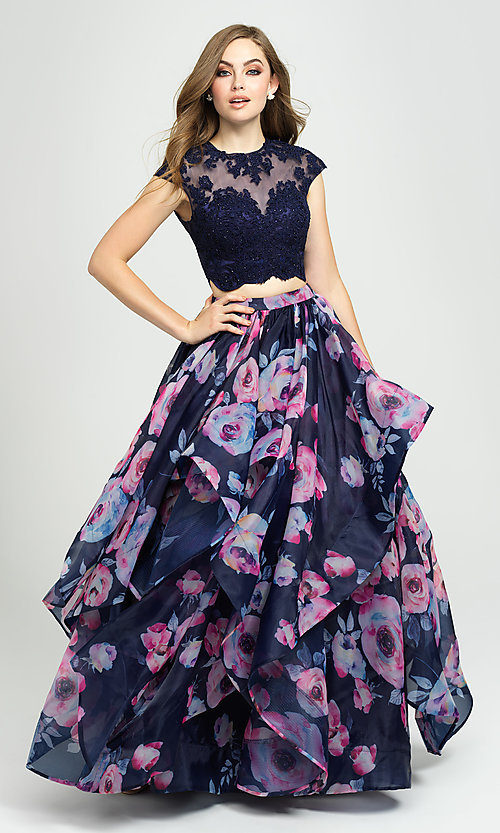 Image of two-piece navy floral-print prom dress with beads. Style: NM-19-160 Front Image