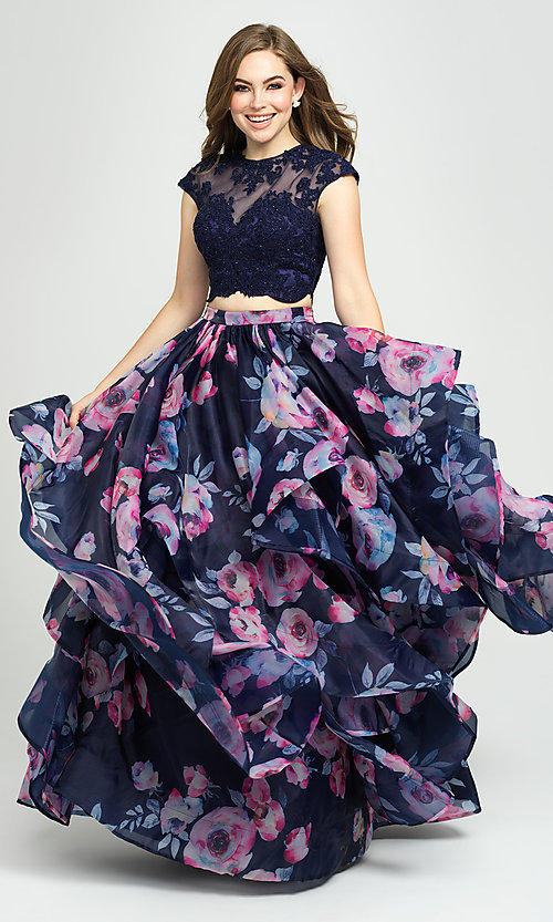 Image of two-piece navy floral-print prom dress with beads. Style: NM-19-160 Detail Image 1