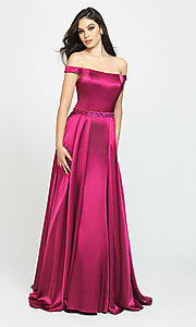 Image of removable-overskirt long formal prom dress. Style: NM-19-161 Detail Image 3