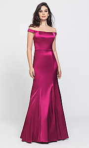 Image of removable-overskirt long formal prom dress. Style: NM-19-161 Detail Image 4