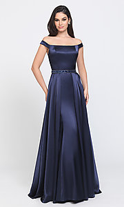 Image of removable-overskirt long formal prom dress. Style: NM-19-161 Front Image