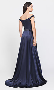 Image of removable-overskirt long formal prom dress. Style: NM-19-161 Back Image