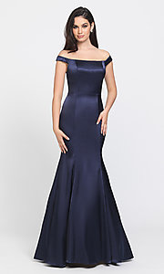 Image of removable-overskirt long formal prom dress. Style: NM-19-161 Detail Image 1