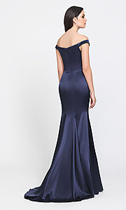 Image of removable-overskirt long formal prom dress. Style: NM-19-161 Detail Image 2