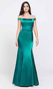 Image of removable-overskirt long formal prom dress. Style: NM-19-161 Detail Image 8