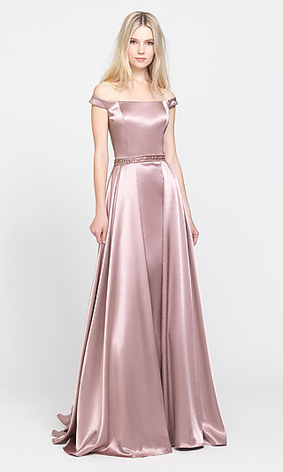 Removable-Overskirt Long Formal Prom Dress