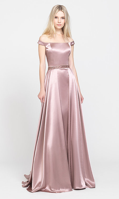 Image of removable-overskirt long formal prom dress. Style: NM-19-161 Detail Image 5