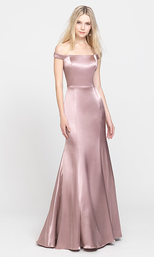 Image of removable-overskirt long formal prom dress. Style: NM-19-161 Detail Image 6