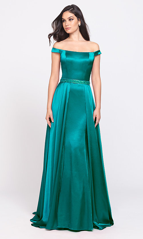 Image of removable-overskirt long formal prom dress. Style: NM-19-161 Detail Image 7