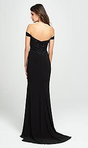 Image of long off-the-shoulder prom dress with beading. Style: NM-19-162 Back Image