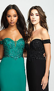 Image of long off-the-shoulder prom dress with beading. Style: NM-19-162 Detail Image 1