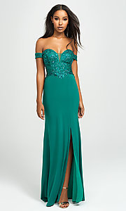 Image of long off-the-shoulder prom dress with beading. Style: NM-19-162 Detail Image 2
