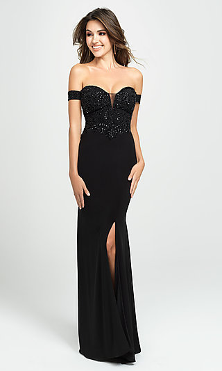 Long Off-the-Shoulder Prom Dress with Beading