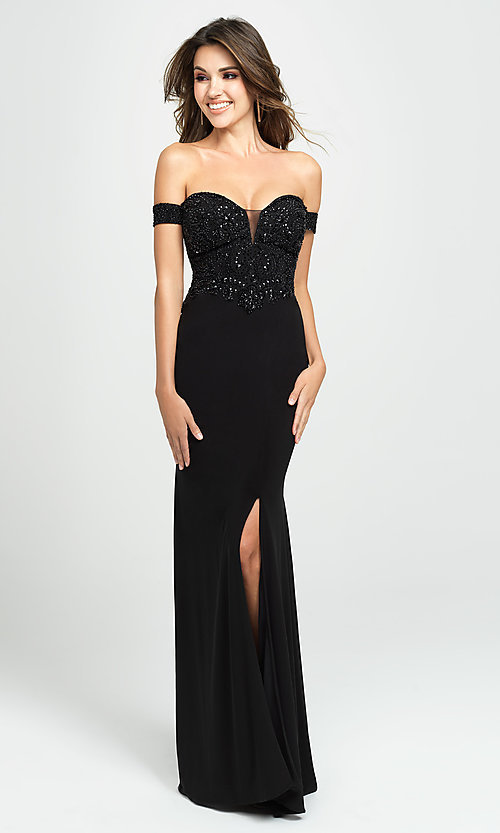 Image of long off-the-shoulder prom dress with beading. Style: NM-19-162 Front Image