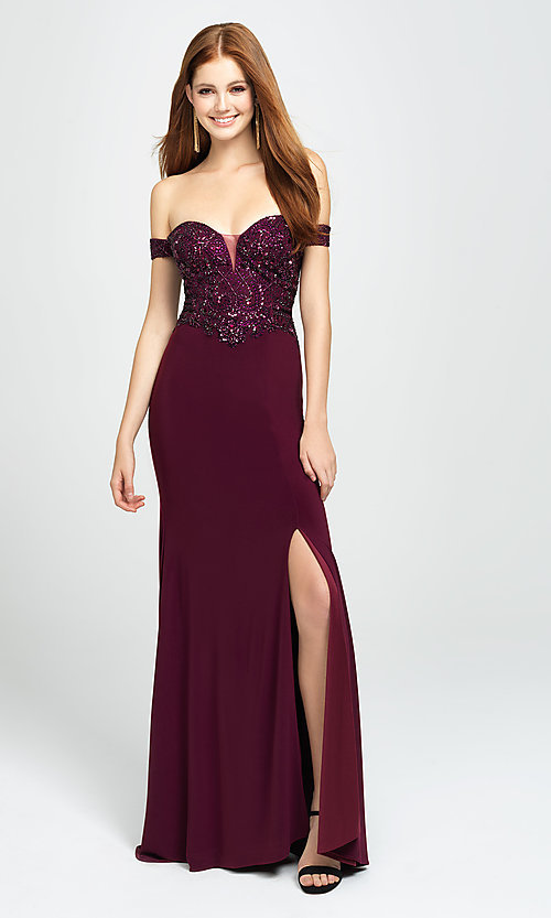 Image of long off-the-shoulder prom dress with beading. Style: NM-19-162 Detail Image 3