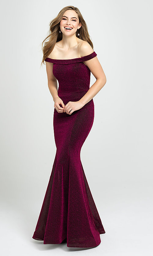 Image of off-the-shoulder long metallic mermaid prom dress. Style: NM-19-164 Front Image