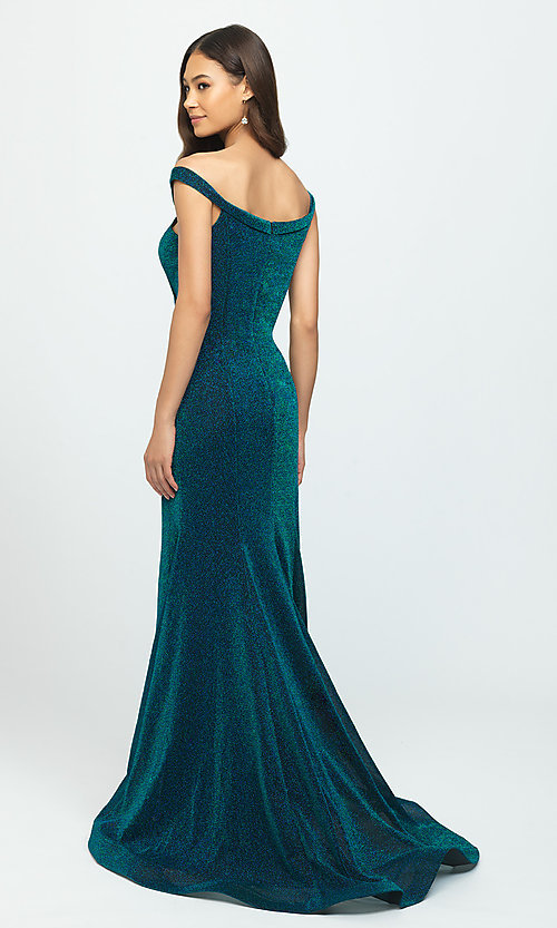 Image of off-the-shoulder long metallic mermaid prom dress. Style: NM-19-164 Back Image