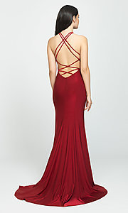 Image of strappy-open-back long prom dress by Madison James. Style: NM-19-170 Back Image