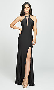 Image of strappy-open-back long prom dress by Madison James. Style: NM-19-170 Detail Image 2