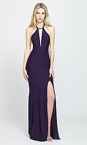 Image of strappy-open-back long prom dress by Madison James. Style: NM-19-170 Front Image
