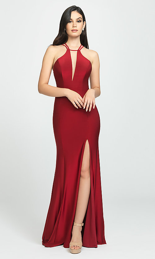 Image of strappy-open-back long prom dress by Madison James. Style: NM-19-170 Detail Image 1
