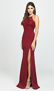 Image of high-neck long Madison James prom dress with slit. Style: NM-19-177 Detail Image 2
