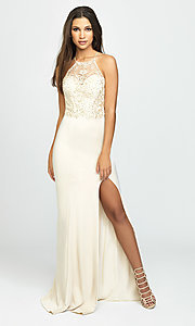 Image of high-neck long Madison James prom dress with slit. Style: NM-19-177 Front Image
