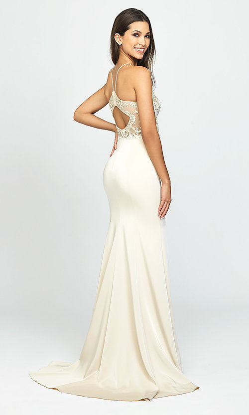 Image of high-neck long Madison James prom dress with slit. Style: NM-19-177 Back Image