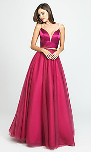 Image of two-piece long a-line prom dress by Madison James. Style: NM-19-181 Detail Image 4