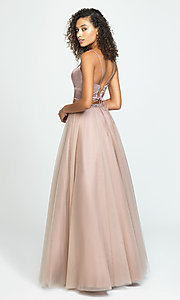 Image of two-piece long a-line prom dress by Madison James. Style: NM-19-181 Back Image