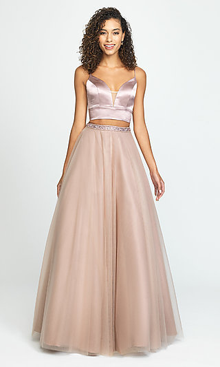 Two-Piece Long A-Line Prom Dress by Madison James