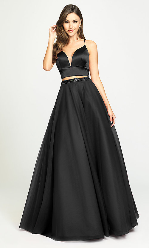 Image of two-piece long a-line prom dress by Madison James. Style: NM-19-181 Detail Image 3