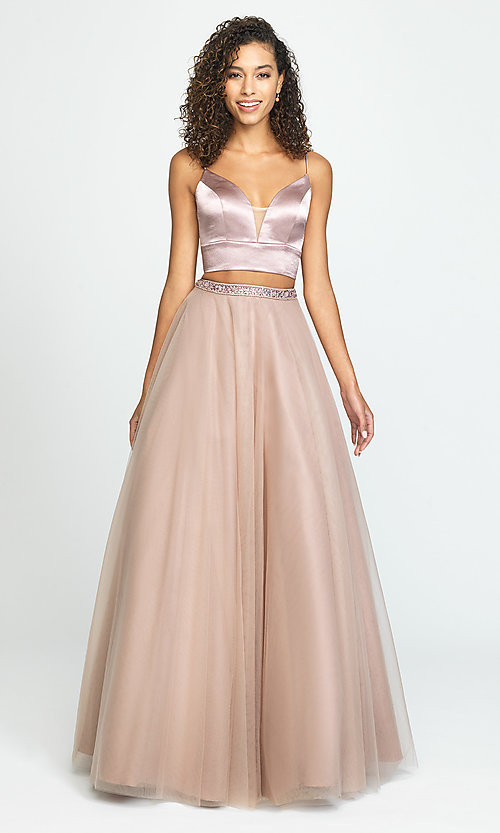 Image of two-piece long a-line prom dress by Madison James. Style: NM-19-181 Front Image