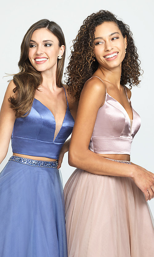 Image of two-piece long a-line prom dress by Madison James. Style: NM-19-181 Detail Image 1