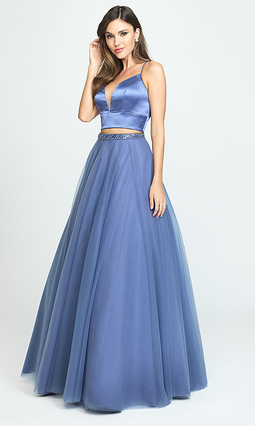 Image of two-piece long a-line prom dress by Madison James. Style: NM-19-181 Detail Image 2
