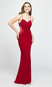 Image of sweetheart long prom dress with beading. Style: NM-19-182 Detail Image 3