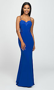 Image of sweetheart long prom dress with beading. Style: NM-19-182 Detail Image 5
