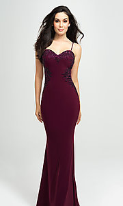 Image of sweetheart long prom dress with beading. Style: NM-19-182 Front Image