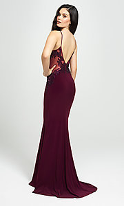 Image of sweetheart long prom dress with beading. Style: NM-19-182 Back Image