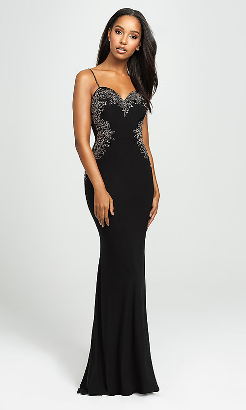 Image of sweetheart long prom dress with beading. Style: NM-19-182 Detail Image 1