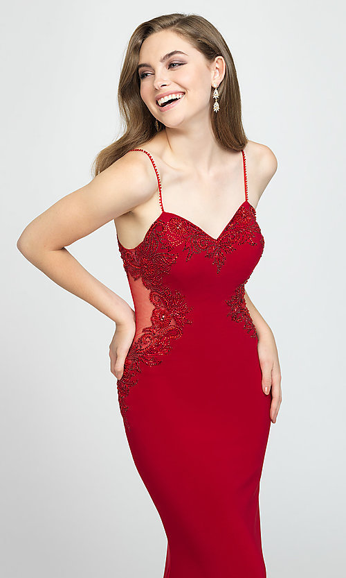 Image of sweetheart long prom dress with beading. Style: NM-19-182 Detail Image 4