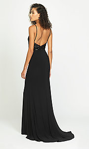 Image of long sparkly formal prom dress with sequin bodice. Style: NM-19-183 Back Image