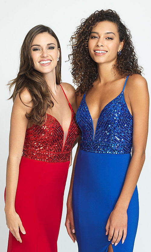 Image of long sparkly formal prom dress with sequin bodice. Style: NM-19-183 Detail Image 1