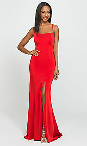 Image of long open-back Madison James prom dress. Style: NM-19-185 Detail Image 1
