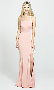 Image of long open-back Madison James prom dress. Style: NM-19-185 Detail Image 3