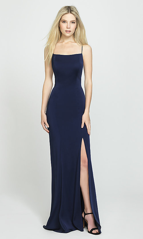 Image of long open-back Madison James prom dress. Style: NM-19-185 Detail Image 2